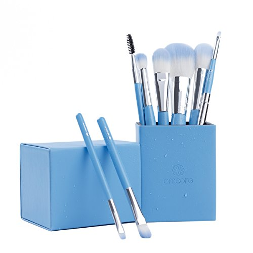 amoore Make Up Pinsel Set Kosmetik Pinselset Make Up Buersten Lidschatten Pinsel Concealer Pinsel Pinselsets Holzgriff mit der PU Leder Pinsel Eimer Kosmetik (8 Pcs, Blau)