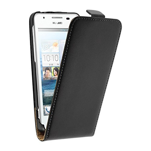 PhoneNatic Kunst-Lederhülle kompatibel mit Huawei Ascend G525 - Flip-Hülle schwarz + 2 Schutzfolien