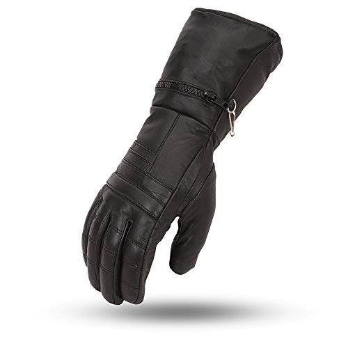 First MFG - High Performance Men's Motorbike Motorcycle Leather Gloves For Cold Weather and Water Repellent (Black, Large)
