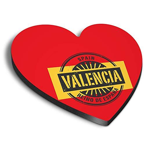 Destination Vinyl ltd Imanes de corazón MDF - Valencia España Reino De España Viaje para Oficina, Armario y Pizarra Blanca, Pegatinas Magnéticas, 6015