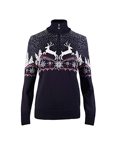 Dale of Norway Dale Christmas Fem, Felpa Donna, Navy/off White/Red Rose, S