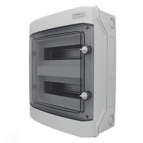 Sicherungskasten Aufputz IP65 Feuchtraum Gehäuse Verteiler Kleinverteiler 1-3 reihig 4-36 Module (2-reihig 24 Module)
