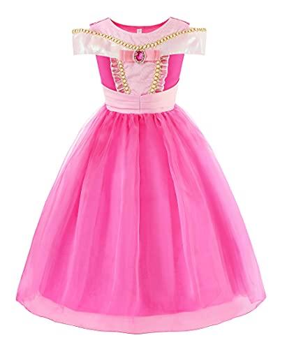 ReliBeauty – Vestido de Aurora para niña, disfraz de La Bella a Madera Dormiente traje Cosplay Halloween Disfraz de Tul para Carnaval o fiesta Rosa Ardiente 4-5 años, 110