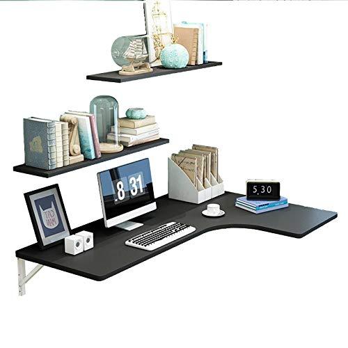 ZYQDRZ Bureau D'ordinateur Pliant d'angle, Table à Manger Murale du Sol Au Plafond Et établi, Y Compris étagère,Noir,120 * 70 * 50cm/47 * 28 * 20in