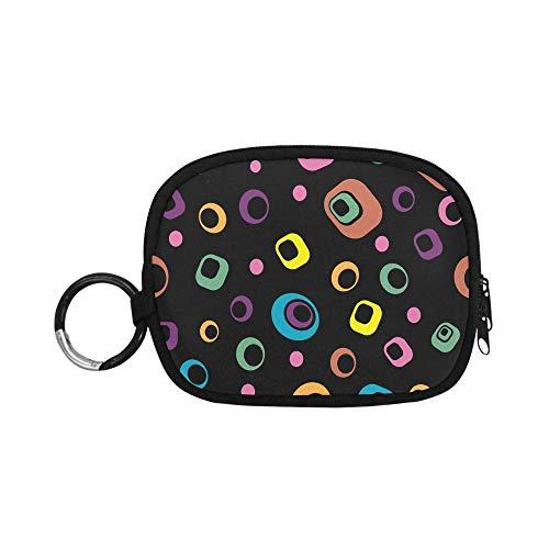 Simpatico portamonete portachiavi astratto retrò anni '60 anni '70 cerchi quadrati pochette cambio borsa portamonete donna cerniera con portachiavi anello per ragazza donna bambini