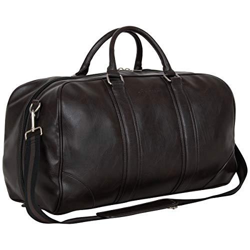 """Ben Sherman 20"""" Vegan Leather Travel Duffel Bag Top Zip Weekender Carry-On Duffle Luggage, Brown"""