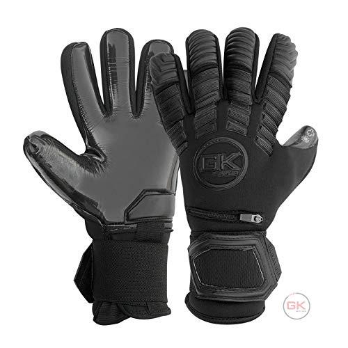 Guantes de portero GK Saver Protech Super negros profesionales de portería de fútbol, tamaño 6-11 (sin dejar los dedos, no personalización, talla 7)