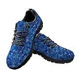 HUGS IDEA Zapatillas deportivas de malla con estampado divertido para correr y escalar, para enfermera, diente de Jamaica Stripe Leopard, Blue Butterfly Black, 44 EU