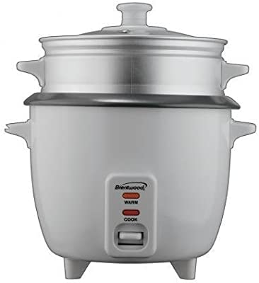 BRENTWOOD TS180S Brentwood Rice Cooker/Non Stick/With Steamer/8-Cups (Uncooked)(White Body) by Brentwood