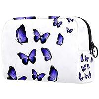 女性用化粧ポーチ、化粧品収納袋紫色の蝶プリント 旅行、化粧品オーガナイザー