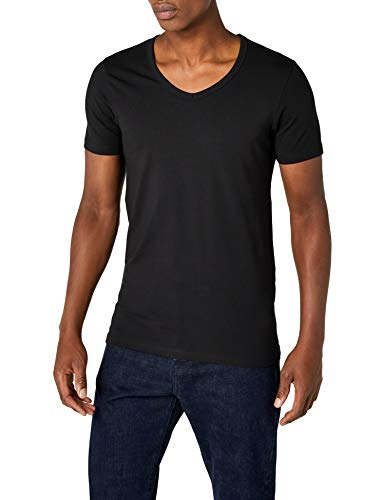 Jack & Jones Herren T-Shirt Basic V-Neck Tee S/S NOOS 12059219, Herren  , XL, Schwarz (Black)