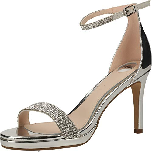 Buffalo Damen High-Heel-Sandalette Monroe Silber Synthetik 41