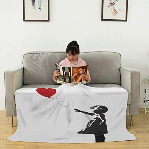 Wahom Banksy Red Heart Balloon Girl Soft Fuzzy Faux Fur Lightweight Blankets for Bed and Living product image