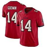 T-Shirt Jersey de Rugby pour Hommes Bùccǎnéěrs 14# Godwin Manches Courtes, Confortable Sports Sports Shirt Sports Short Sleeve Red-M