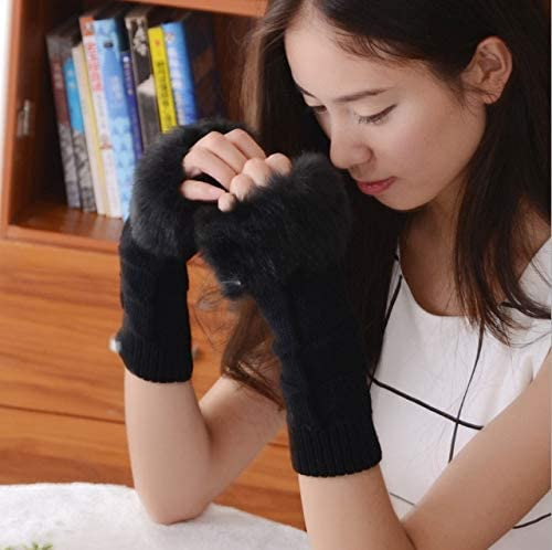 1Pair Fashion Women Faux Rabbit Fur Hand Wrist Crochet Knitted Fingerless Warmer Gloves Knitting Mittens Winter Autumn Warmer - (Color: C)