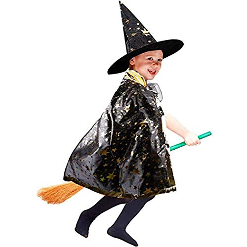 Anzmtos Halloween Costumes Witch Wizard Cloak with Hat Wizard Cape and Hat Child's Kids Costume Cosplay Fancy Dress for Kids Toddlers Children Boys/Girls(Black)…