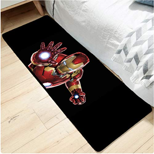 zzqiao Alfombra De Dibujos Animados Anime Creative Marvel Superhero Strip Carpet Iron Man America Spider Kitchen Mesita De Noche Rectangular Mat 80 * 200Cm