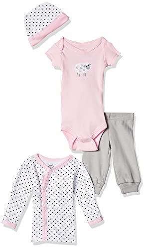 Luvable Friends Conjunto de enxoval prematuro de algodão para bebês unissex, Ovelha rosa, Preemie