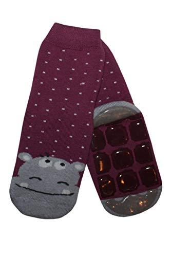 Weri Spezials Baby & Kinder Socke mit ABS 'Nilpferd' Brombeere, Größe:35/38, Farbe:Brombeere