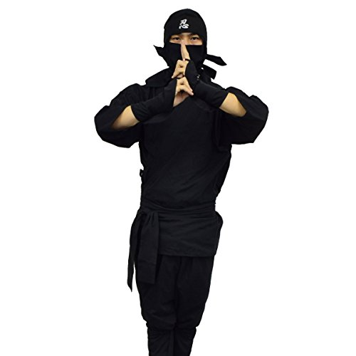 本格大人用忍者スーツセット LLサイズ シワになりにくく、吸水性もあるポリエステル・綿の混紡