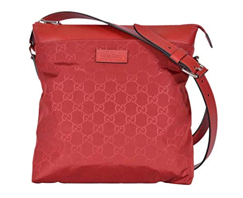 Gucci Women's Red GG Nylon Medium Messenger Crossbody Bag 510342 6523