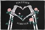 Juego de 6 manteles Individuales con Estampado Skull Hands Rose Love, manteles Individuales para Mesa de Comedor Resistentes al Calor, Lavables y Lavables para Comedor al Aire Libre / interi