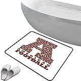 Alfombra de baño antideslizante de felpudo Carta a Alfombrilla goma antideslizante Primera letra de la forma del alfabeto con deportes de atletismo de fútbol americano,marrón y blanco,,Interior/Exteri