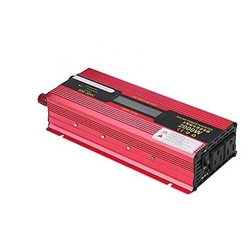 Inversor de Corriente para Coche-Convertidor de Corriente-Rojo 2000W DC 12V a AC 220V Convertidor de inversor de Corriente para Coche Adaptador de Cargador USB con Pantalla LCD