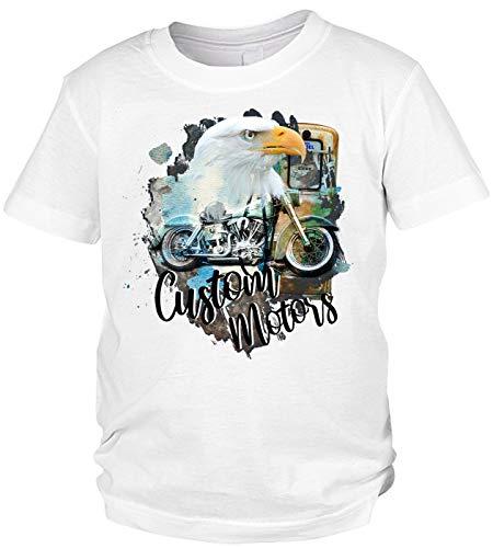 Adler Motorrad Motiv Kindershirt - Kinder T-Shirt Biker : Custom Motors - Kinder Motorrad Sprüche Shirt Adlerkopf Gr: S