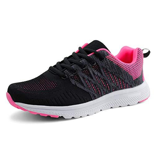 JABASIC Women Casual Breathable Running Sneakers Lightweight Tennis Shoes (7,Black/Fuchsia)