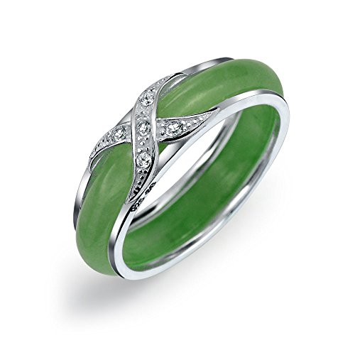 Pave CZ Accent Criss Cross Cubic Zirconia X Kiss Dyed Green Jade Band Ring For Women For Girlfriend 925 Sterling Silver