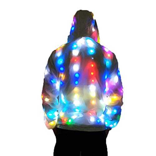 PeiQila - Giacca luminosa a LED, con luce LED, per feste di Natale, Halloween, per feste
