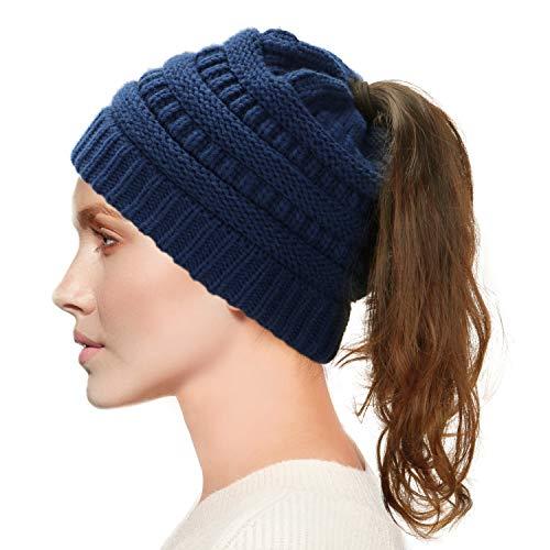 Dafunna Damen Winter Strickmütze Bommel Bommelmütze Beanie Damen Ski Mütze Wollmütze Warm mit Zopfmuster Ohrenschutz (Blau Damen Mädchen)