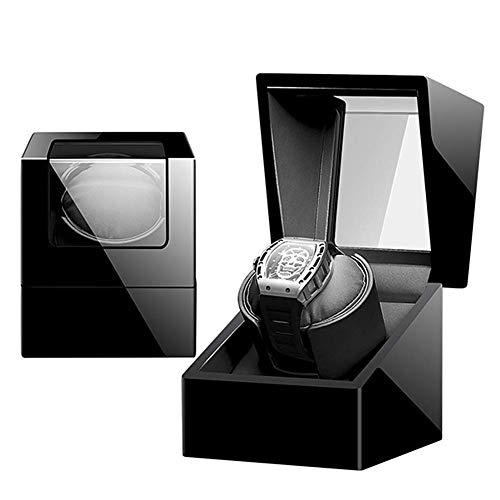 alvyu Holz Uhrenbeweger Aufbewahrungsbehälter, Lederkissen, Quiet Motor, 5 Rotationsmodi, Klavierlack-Geschenk
