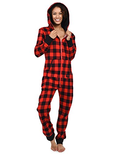 Buffalo Plaid Cozy Jumpsuit - Black and Red Cozy Adult Onesie: Large