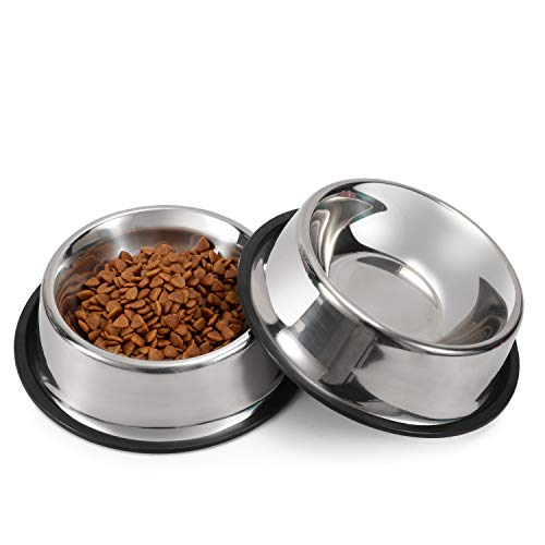WERFORU 2 Stück Edelstahl Hundenapf für kleine/mittlere/große Hunde-, Katzen-, Tiernahrungs- / Wasserschalen mit Gummibasis Reduzieren Sie das Verschütten