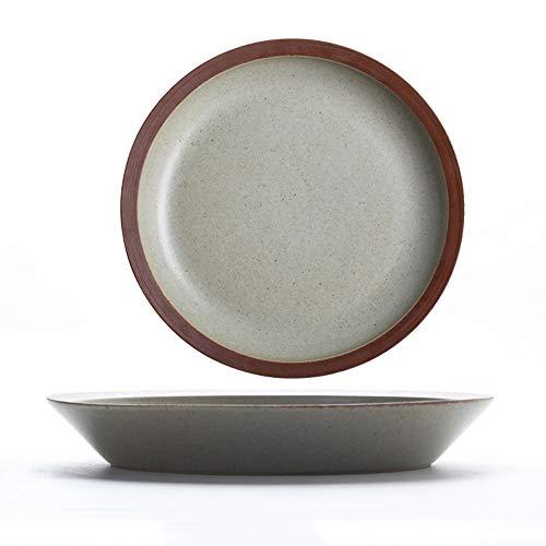YLMF Plato occidental de cerámica esmaltado japonés para ensalada de frutas retro para el hogar, microondas y horno dedicado apilable 8 pulgadas