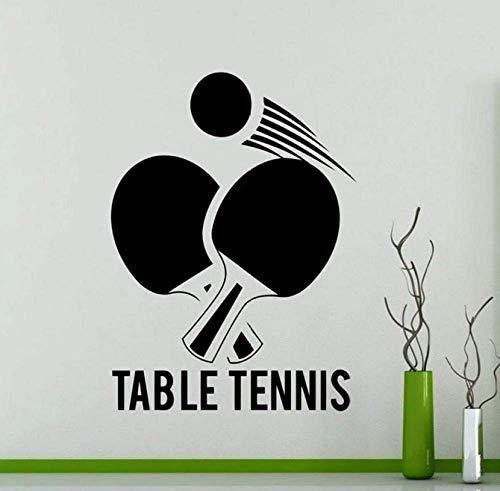 Tischtennis Logo Wandaufkleber Sport Tischtennis Vinyl Aufkleber Home Interior Decoration Wasserdicht Hochwertiges Wandbild 57X78cm