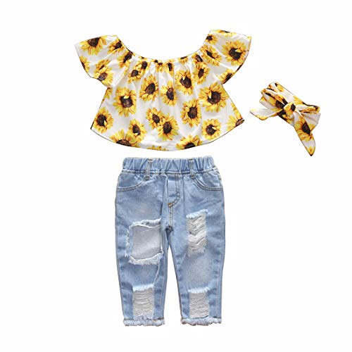 Verve Jelly Baby Kleinkind Mädchen Off Schulter Rüschen Sonnenblume Crop Tops & Zerrissene Jeans Hohle Jeanshose Outfits Kleidung Set, Weiß, Größe 90 (12-18 Monate)