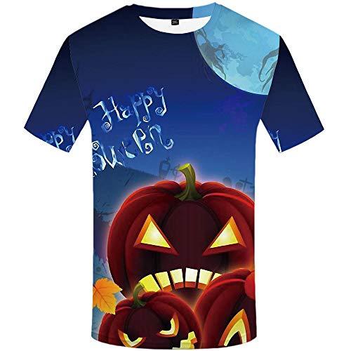 Unisex 3D Druckten Sommer-beiläufige Kurze Hülsen-T-Shirts T-Stücke Halloween Horror Kürbis Haufen T-Shirt männlich 3DT Shirt Kurzarm Rundhals Digitaldruck lässig Kurzarm-Color_XL