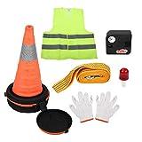Kit de emergencia en el camino - 1 juego de 7 PCs Herramientas de seguridad y de emergencia para automóviles Road y Kit de primeros auxilios con lámpara de cabeza LED.