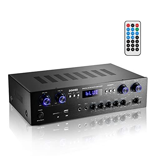 Donner パワーアンプ オーディオアンプ Bluetooth5.0 最大出力440W オーディオステレオレシーバー USB/SD/FM/2MicINEcho/RCA/LED スタジオ ホームユース MAMP5
