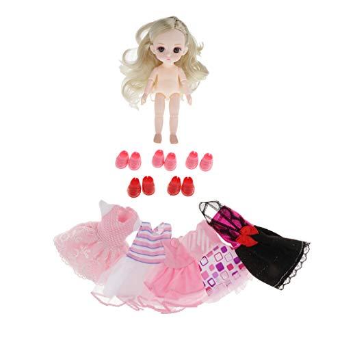 Toygogo Schöne 16cm Kugelgelenk Puppe Nackte Körper Mädchenpuppe mit Puppenkleidung Kleid Outfits für Petite Blythe, Obitsu11, OB11, 1/12 BJD