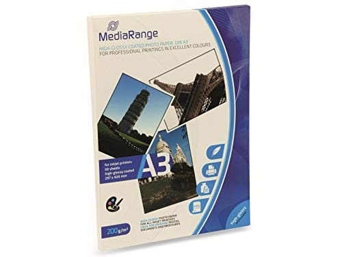 MediaRange DIN A3 Fotopapier für Tintenstrahldrucker, hochglänzend, 200g, 50 Blatt