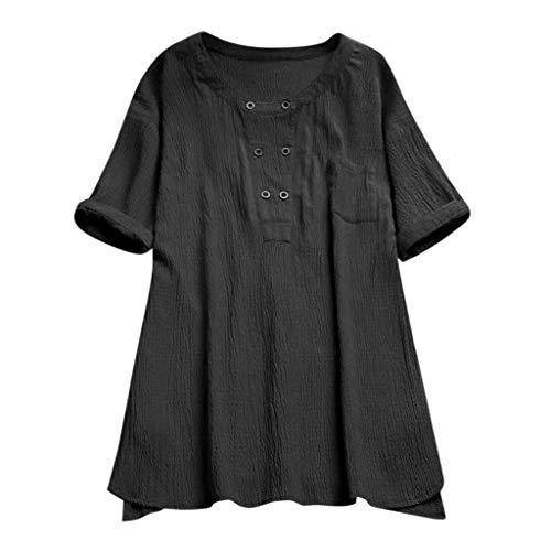 Topkal 2019 - Camiseta de manga corta para mujer para verano, elegante, para primavera, Causal, vintage, sin mangas, de algodón y lino, informal Negro  M