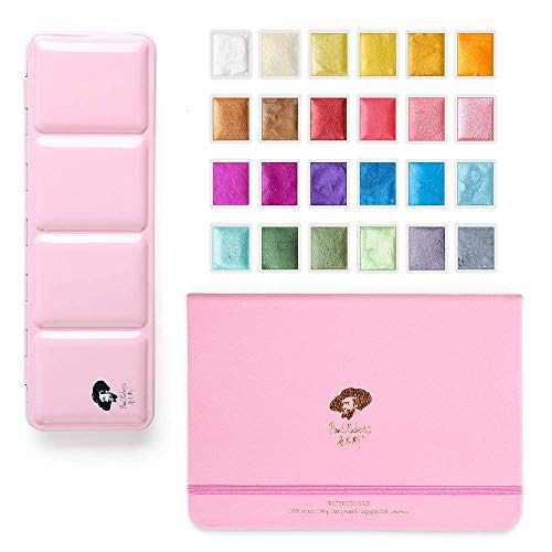 Paul Rubens 24 Colors Watercolor Paints-Glitter Solid with a 7.68 x 5.31' Watercolor Paper Block