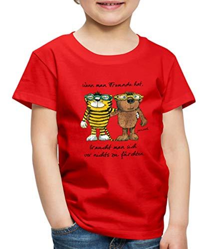 Janosch Tiger Und Bär Wenn Man Freunde Zitat Kinder Premium T-Shirt, 98-104, Rot