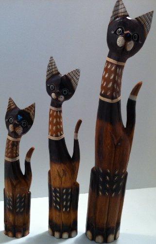 3 Katzen Holzkatzen Set Panjab Holz Katze Figur Skulptur