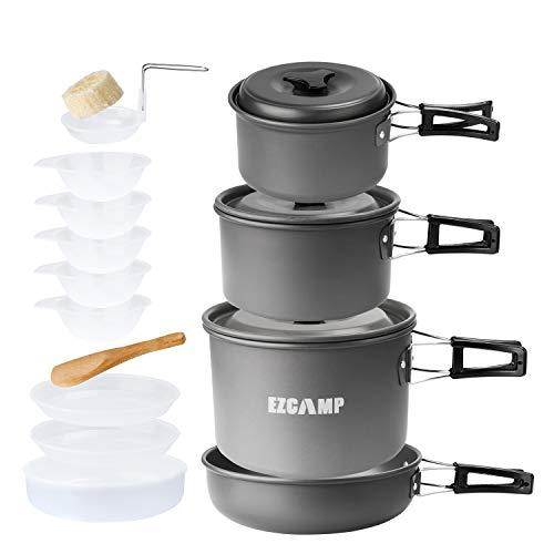 アルミ クッカーセット アウトドア鍋 EZCAMP キャンピング鍋 収納袋付き 4-5人に適応 15点セット コッヘル