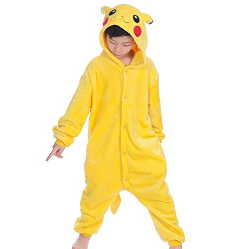 wealsex Pigiama Intero Bambina Unicorno Bambini Ragazzi Unisex Cosplay Animale Pasqua Halloween Tuta Intera Regalo (Pikachu,125)